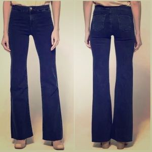 J Brand Dark Wash Tailored High Rise Flare Jean.